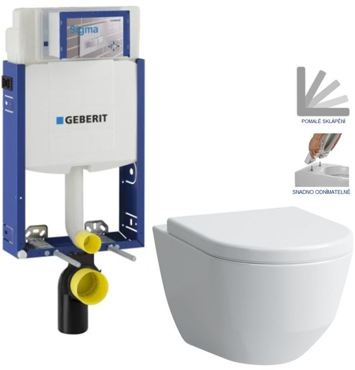 AKCE/SET/GEBERIT - Kombifix KOMBIFIX ECO pro závěsné WC, nádržka UP 320 bez Ovládací desky + WC LAUFEN PRO + SEDÁTKO (110.302.00.5 LP3)
