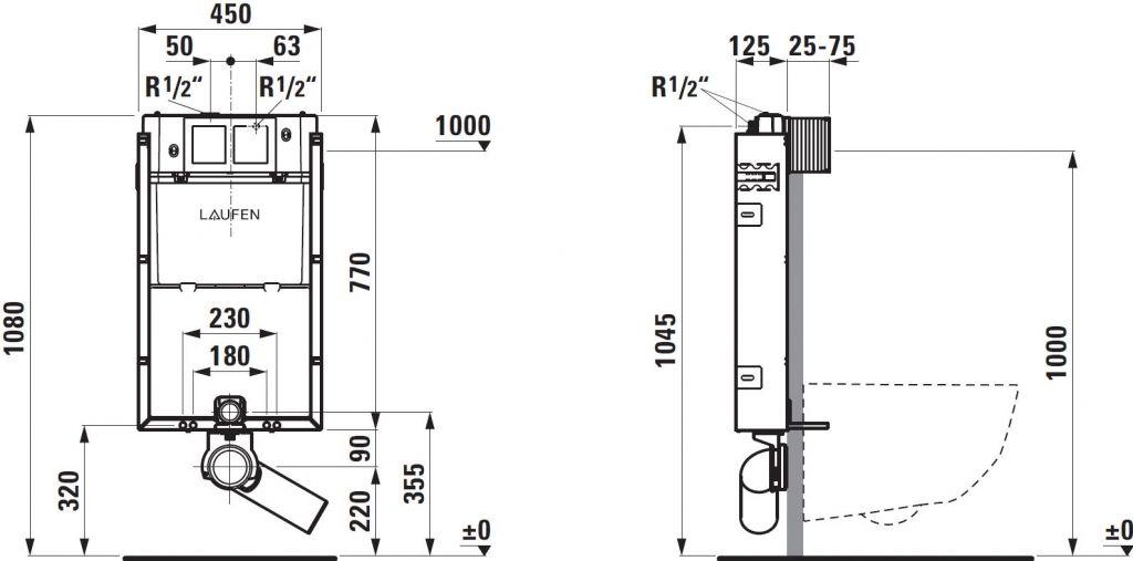 LAUFEN Podomít. systém LIS TW1 SET s bielym tlačidlom + WC CERSANIT CLEANON CARINA + SEDADLO (H8946630000001BI CA1)