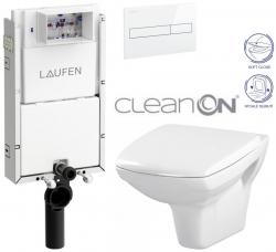 LAUFEN Podomít. systém LIS TW1 SET s bielym tlačidlom + WC CERSANIT CLEANON CARINA + SEDADLO (H8946630000001BI CA2)