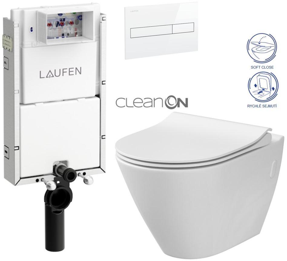 LAUFEN Podomít. systém LIS TW1 SET s bílým tlačítkem + WC CERSANIT CLEANON CITY (H8946630000001BI CI1)