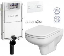 LAUFEN Podomít. systém LIS TW1 SET s bielym tlačidlom + WC CERSANIT CLEANON COLOUR + SEDADLO (H8946630000001BI CN1)