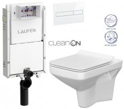 LAUFEN Podomít. systém LIS TW1 SET s bielym tlačidlom + WC CERSANIT CLEANON COMO + SEDADLO (H8946630000001BI CO1)