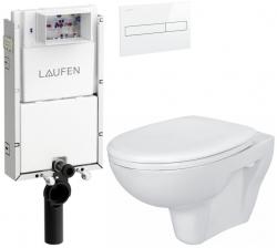 AKCE/SET/LAUFEN - Podomít. systém LIS TW1 SET BÍLÁ + ovládací tlačítko BÍLÉ + WC CERSANIT PRESIDENT + SEDÁTKO (H8946630000001BI PR1)