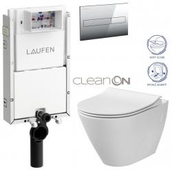 LAUFEN Podomít. systém LIS TW1 SET s chrómovým tlačidlom + WC CERSANIT CLEANON CITY (H8946630000001CR CI1)