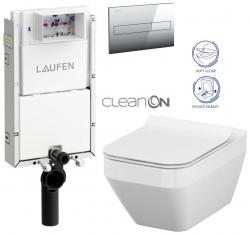 LAUFEN Podomít. systém LIS TW1 SET s chrómovým tlačidlom + WC CERSANIT CLEANON CREA štvorec + SEDADLO (H8946630000001CR CR2)