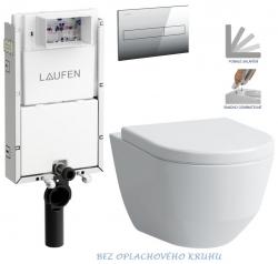 AKCE/SET/LAUFEN - Podomít. systém LIS TW1 SET + ovládací tlačítko CHROM + WC LAUFEN PRO RIMLESS + SEDÁTKO (H8946630000001CR LP1)