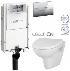 LAUFEN Podomít. systém LIS TW1 SET s chrómovým tlačidlom + WC CERSANIT CLEANON PARVA + SEDADLO (H8946630000001CR PA1)