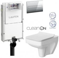 LAUFEN Podomít. systém LIS TW1 SET s chrómovým tlačidlom + WC CERSANIT CLEANON SPLENDOUR + SEDADLO (H8946630000001CR SP1)