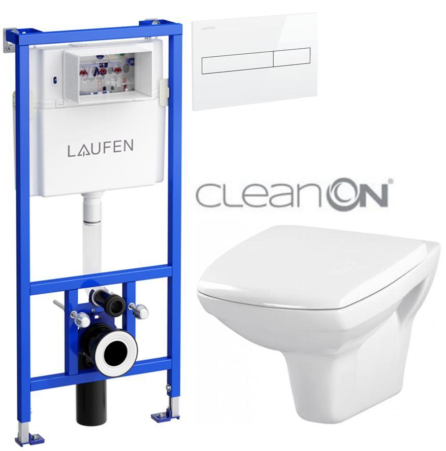 LAUFEN Rámový podomietkový modul CW1 SET s bielym tlačidlom + WC CERSANIT CLEANON CARINA + SEDADLO H8946600000001BI CA1