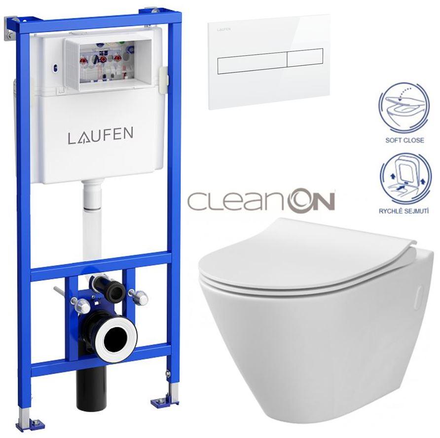 LAUFEN Rámový podomítkový modul CW1 SET s bílým tlačítkem + WC CERSANIT CLEANON CITY (H8946600000001BI CI1)