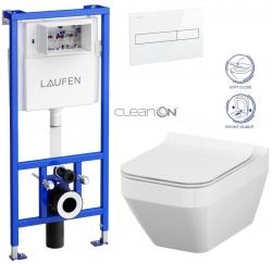 AKCE/SET/LAUFEN - Rámový podomítkový modul CW1  SET BÍLÁ + ovládací tlačítko BÍLÉ + WC CERSANIT CREA ČTVEREC CLEANON + SEDÁTKO (H8946600000001BI CR2)
