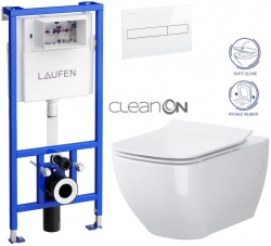 LAUFEN Rámový podomietkový modul CW1 SET s bielym tlačidlom + WC CERSANIT VIRGO CLEANON + SEDADLO (H8946600000001BI ME1)