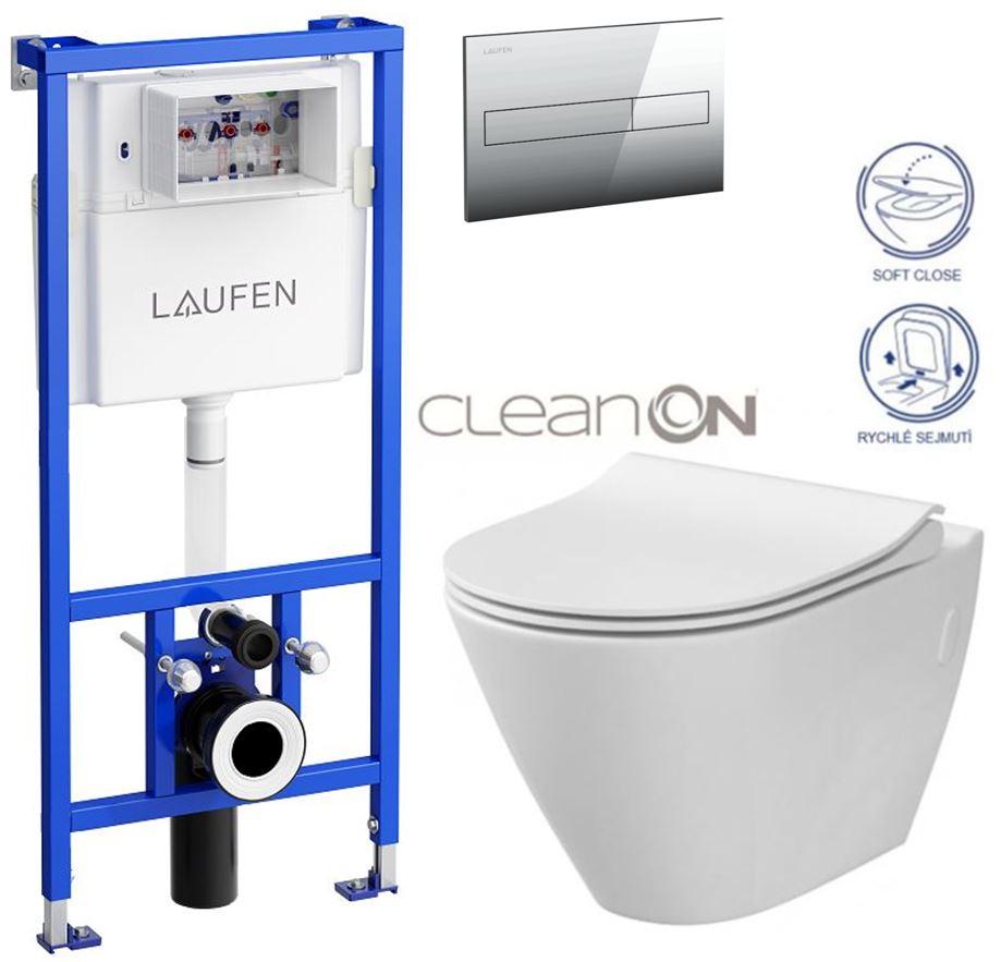 LAUFEN Rámový podomítkový modul CW1 SET s chromovým tlačítkem + WC CERSANIT CLEANON CITY (H8946600000001CR CI1)