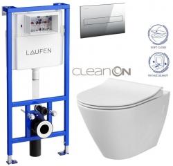 LAUFEN Rámový podomietkový modul CW1 SET s chrómovým tlačidlom + WC CERSANIT CLEANON CITY (H8946600000001CR CI1)