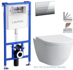 LAUFEN Rámový podomietkový modul CW1 SET s chrómovým tlačidlom + WC LAUFEN PRO RIMLESS + SEDADLO (H8946600000001CR LP1)