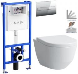 AKCE/SET/LAUFEN - Rámový podomietkový modul CW1 SET + ovládacie tlačidlo CHRÓM + WC LAUFEN PRO + SEDADLO (H8946600000001CR LP3)