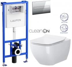 AKCE/SET/LAUFEN - Rámový podomítkový modul CW1  SET + ovládací tlačítko CHROM + WC OPOCZNO METROPOLITAN CLEANON + SEDÁTKO (H8946600000001CR ME1)