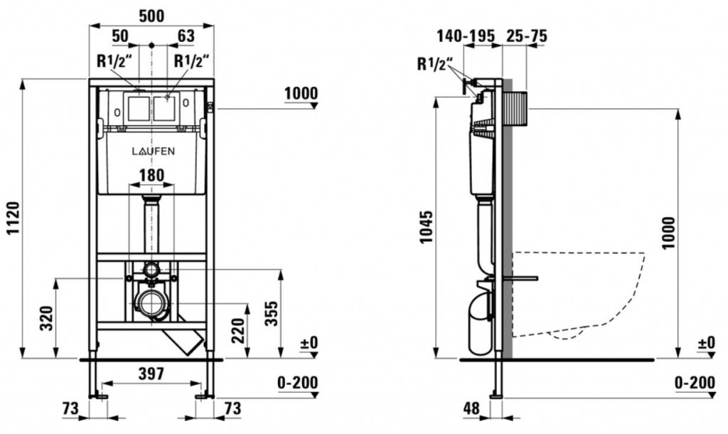 AKCE/SET/LAUFEN - Rámový podomítkový modul CW1  SET + ovládací tlačítko CHROM + WC CERSANIT PRESIDENT + SEDÁTKO (H8946600000001CR PR1), fotografie 2/6