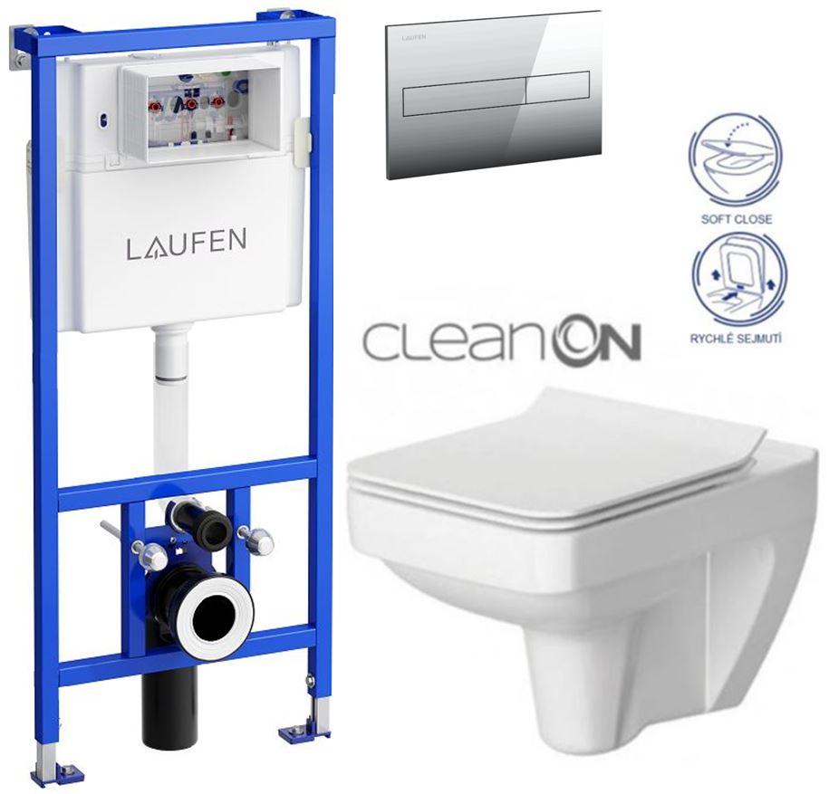 AKCE/SET/LAUFEN - Rámový podomítkový modul CW1  SET+ ovládací tlačítko CHROM + WC CERSANIT SPLENDOUR CLEANON + SEDÁTKO (H8946600000001CR SP1)
