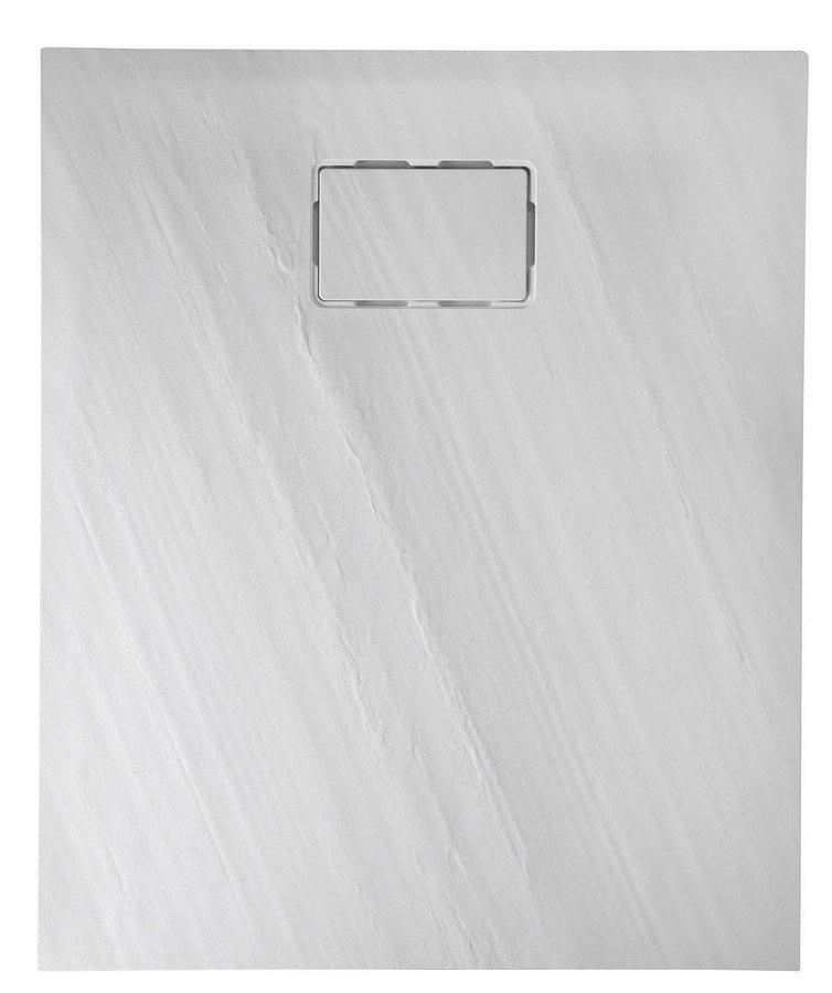 SAPHO - ATIKA sprchová vanička, litý mramor, obdĺžnik 120x80x3,5cm, biela, dekor kameň (AK004)