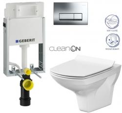 AKCE/SET/GEBERIT - SET GEBERIT - KOMBIFIXBasic vrátane ovládacieho tlačidla DELTA 51 CR pre závesné WC CARINA CLEAN ON + SEDADLO (110.100.00.1 51CR CA3)