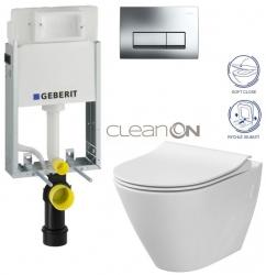 AKCE/SET/GEBERIT - GEBERIT - KOMBIFIXBasic včetně ovládacího tlačítka DELTA 51 CR pro závěsné WC CITY CLEAN ON + SEDÁTKO (110.100.00.1 51CR CI1)