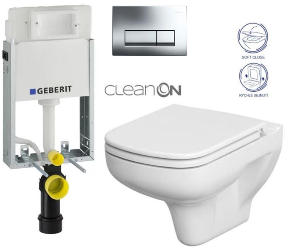 AKCE/SET/GEBERIT - GEBERIT - KOMBIFIXBasic včetně ovládacího tlačítka DELTA 51 CR pro závěsné WC COLOUR CLEAN ON + SEDÁTKO (110.100.00.1 51CR CN1)