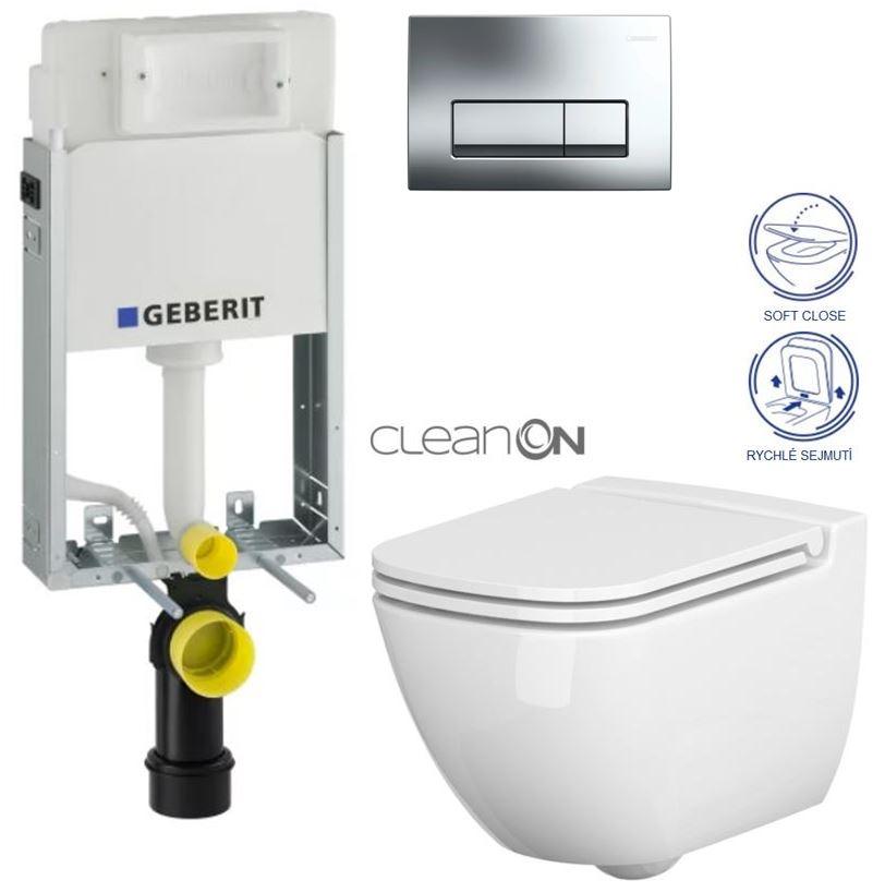 /SET/GEBERIT - SET GEBERIT - KOMBIFIXBasic včetně ovládacího tlačítka DELTA 51 CR pro závěsné WC CASPIA CLEAN ON + SEDÁTKO (110.100.00.1 51CR CP1)