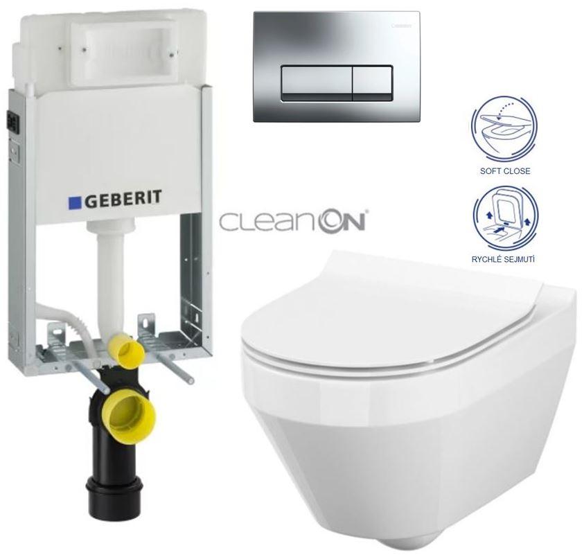 /SET/GEBERIT - SET GEBERIT - KOMBIFIXBasic včetně ovládacího tlačítka DELTA 51 CR pro závěsné WC CREA OVÁL CLEAN ON + SEDÁTKO (110.100.00.1 51CR CR1)