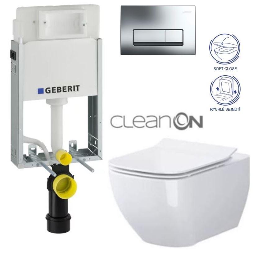 AKCE/SET/GEBERIT - GEBERIT - KOMBIFIXBasic včetně ovládacího tlačítka DELTA 51 CR pro závěsné WC METROPOLITAN CLEAN ON + SEDÁTKO (110.100.00.1 51CR ME1)