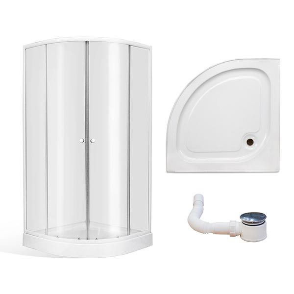 Roltechnik - Čtvrtkruhový sprchový kout AVILES v setu s vaničkou 800x800 mm a sprchová vanička, celková výška 1940mm 4000660 (RT 4000660)