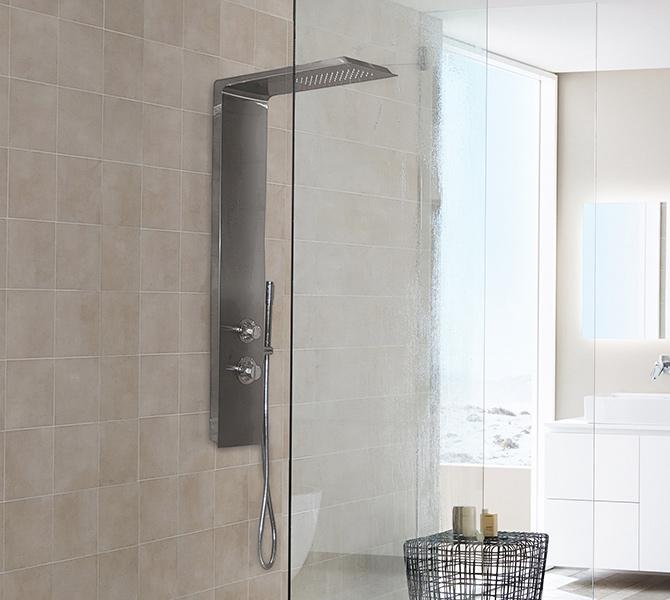 Aquatek - DOMINGO Hydromasážní sprchový panel nerezový, způsob montáže do rohu (Domingo-27)