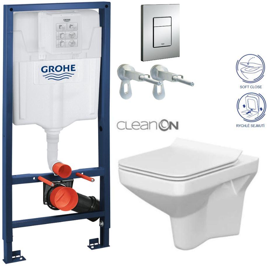 Rapid SL pre závesné WC 38528SET s chrómovou doskou + WC CERSANIT CLEANON COMO + SEDADLO 38772001 CO1