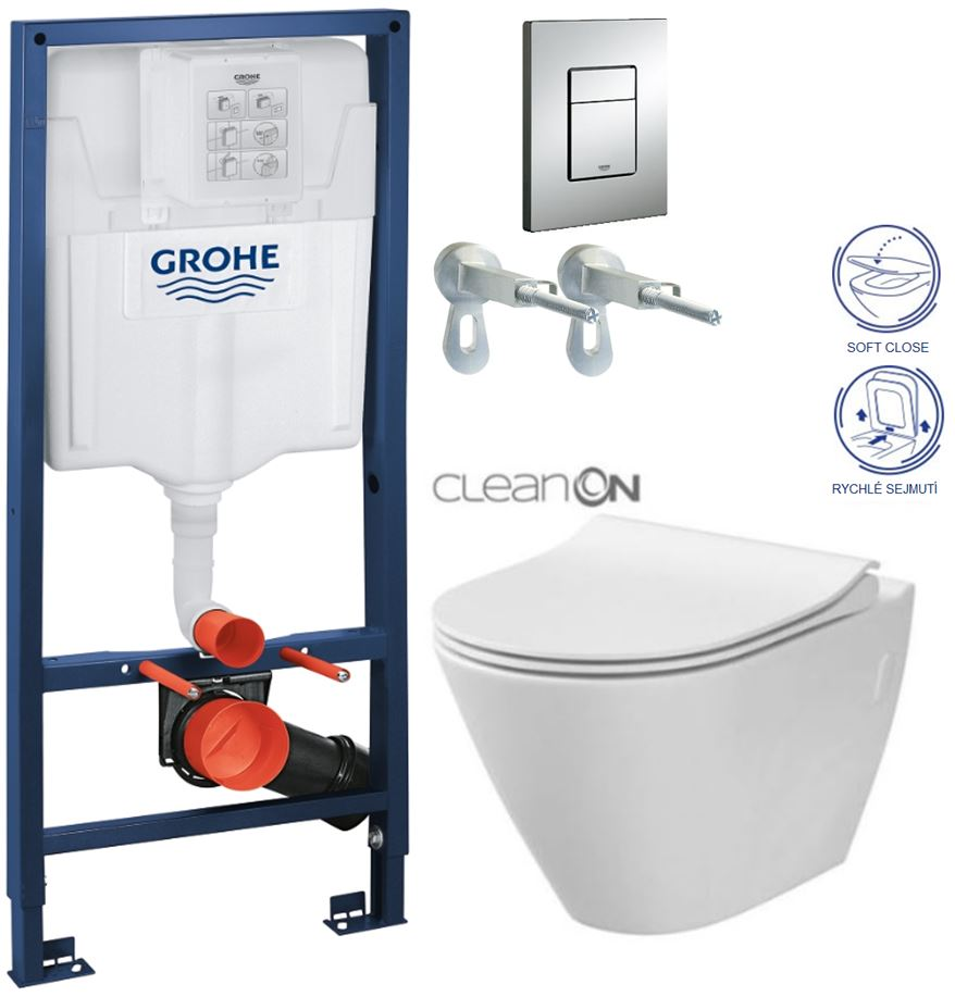 /SET/GROHE - Rapid SL Rapid SL pre závesné WC 38528SET + WC CERSANIT CITY CLEAN ON + SEDADLO (38772001 CI1)