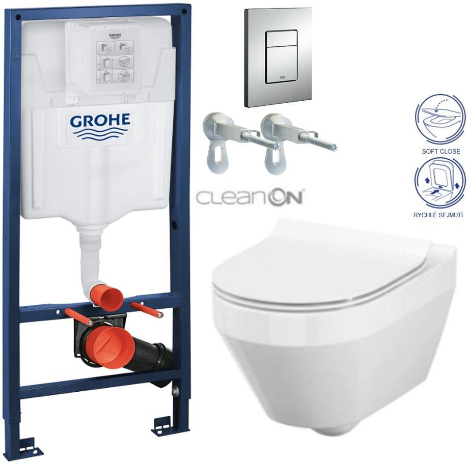 /SET/GROHE - Rapid SL Rapid SL pre závesné WC 38528SET + WC CERSANIT CREA OVÁL CLEAN ON + SEDADLO (38772001 CR1)