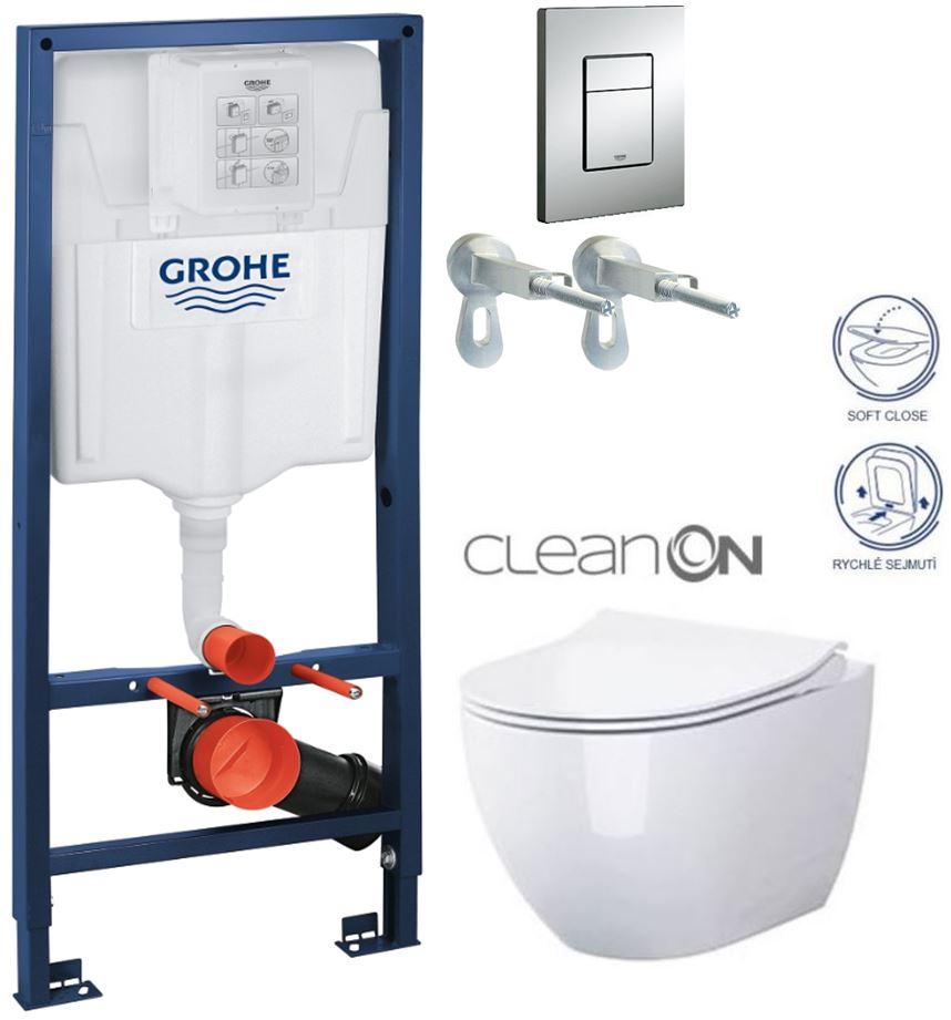 Rapid SL pre závesné WC 38528SET s chrómovou doskou + WC CERSANIT ZEN CLEANON + SEDADLO 38772001 HA1