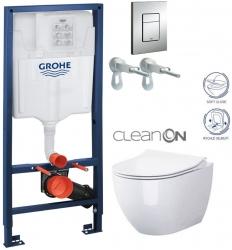 Rapid SL pre závesné WC 38528SET s chrómovou doskou + WC CERSANIT ZEN CLEANON + SEDADLO (38772001 HA1)