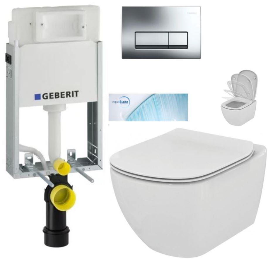 AKCE/SET/GEBERIT - GEBERIT - KOMBIFIXBasic vrátane ovládacieho tlačidla DELTA 51 CR + WC TESI so sedadlom SoftClose, AquaBlade (110.100.00.1 51Cr TE1)
