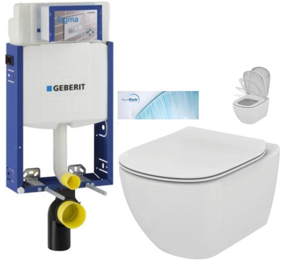 AKCE/SET/GEBERIT - Kombifix KOMBIFIX ECO pre závesné WC, nádržka UP 320 bez ovládacie dosky + WC TESI so sedadlom SoftClose, AquaBlade (110.302.00.5 TE1)