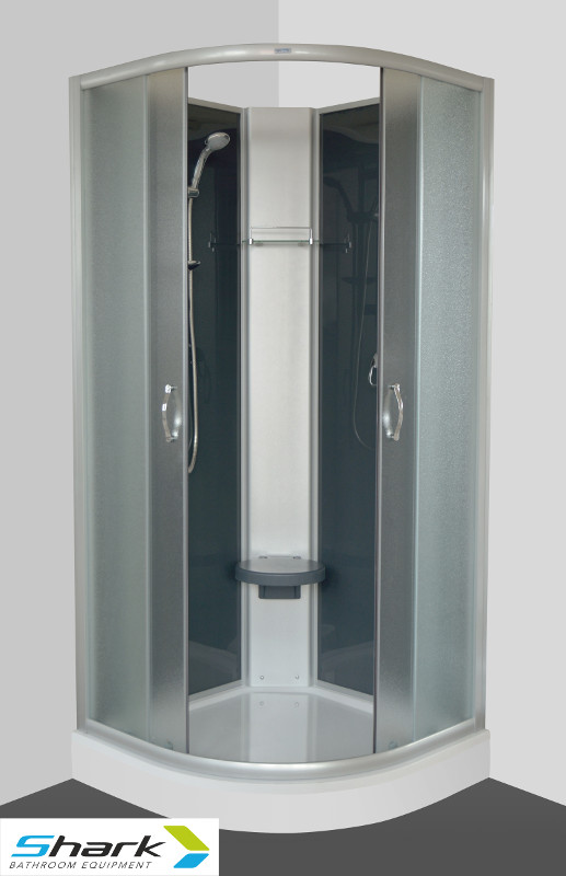 ARTTEC - SUNNY 90 STONE - Sprchový box s vaničkou z litého mramoru, SHARK (PAN01025)
