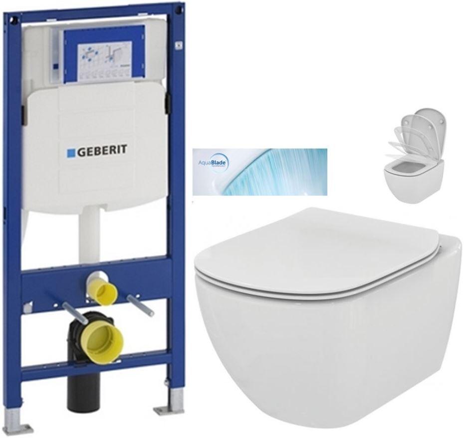 AKCE/SET/GEBERIT - Duofix pre závesné WC 111.300.00.5 bez ovládavý dosky + WC TESI so sedadlom SoftClose, AquaBlade (111.300.00.5 TE1)