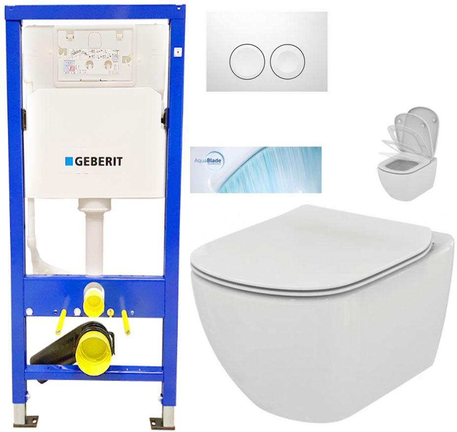 AKCE/SET/GEBERIT - Duofix Sada pre závesné WC 458.103.00.1 + tlačidlo DELTA21 biele + WC TESI so sedadlom SoftClose, AquaBlade (458.103.00.1 21BI TE1)