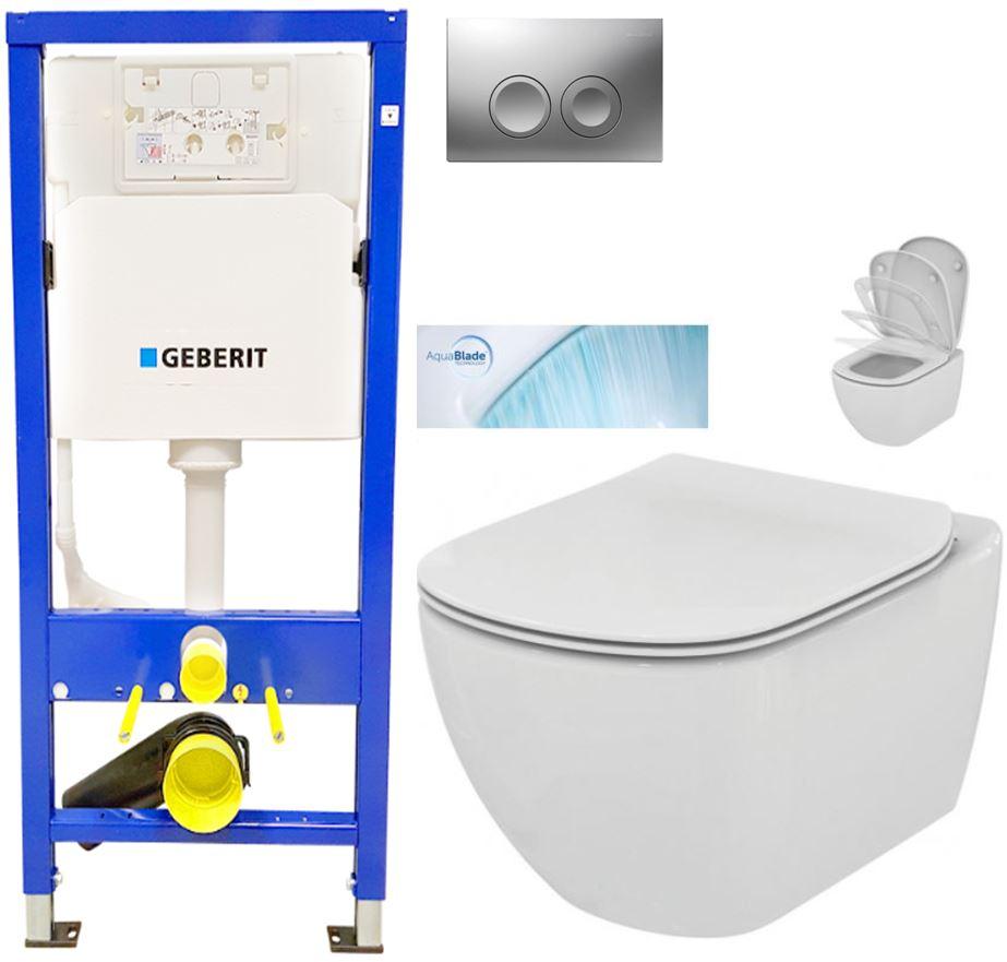 AKCE/SET/GEBERIT - Duofix Sada pre závesné WC 458.103.00.1 + tlačidlo DELTA21 matné + WC TESI so sedadlom SoftClose, AquaBlade (458.103.00.1 21MA TE1)