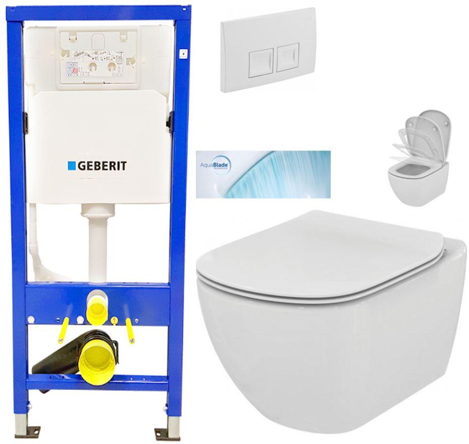 AKCE/SET/GEBERIT - Duofix Sada pre závesné WC 458.103.00.1 + tlačidlo DELTA50 biele + WC TESI so sedadlom SoftClose, AquaBlade (458.103.00.1 50BI TE1)