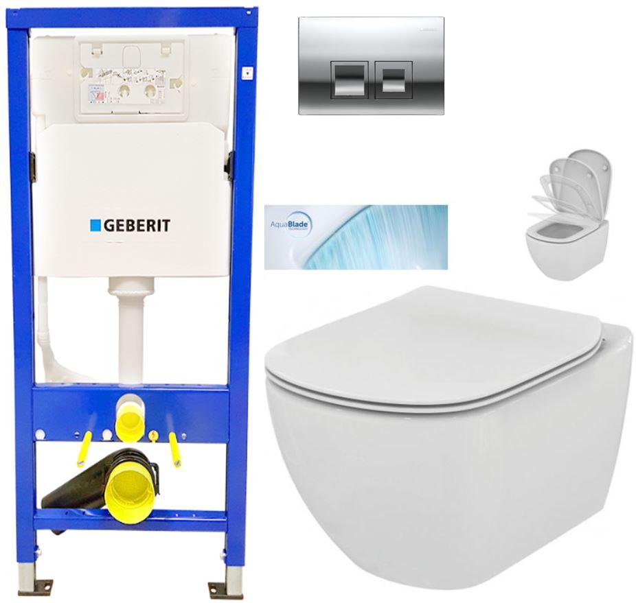 AKCE/SET/GEBERIT - Duofix Sada pre závesné WC 458.103.00.1 + tlačidlo DELTA50 CHRÓM + WC TESI so sedadlom SoftClose, AquaBlade (458.103.00.1 50CR TE1)