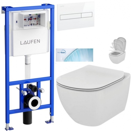 AKCE/SET/LAUFEN - Rámový podomietkový modul CW1 SET BIELA + ovládacie tlačidlo BIELE + WC TESI so sedadlom SoftClose, AquaBlade (H8946600000001BI TE1)
