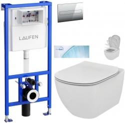 AKCE/SET/LAUFEN - Rámový podomietkový modul CW1 SET + ovládacie tlačidlo CHRÓM + WC TESI so sedadlom SoftClose, AquaBlade (H8946600000001CR TE1)