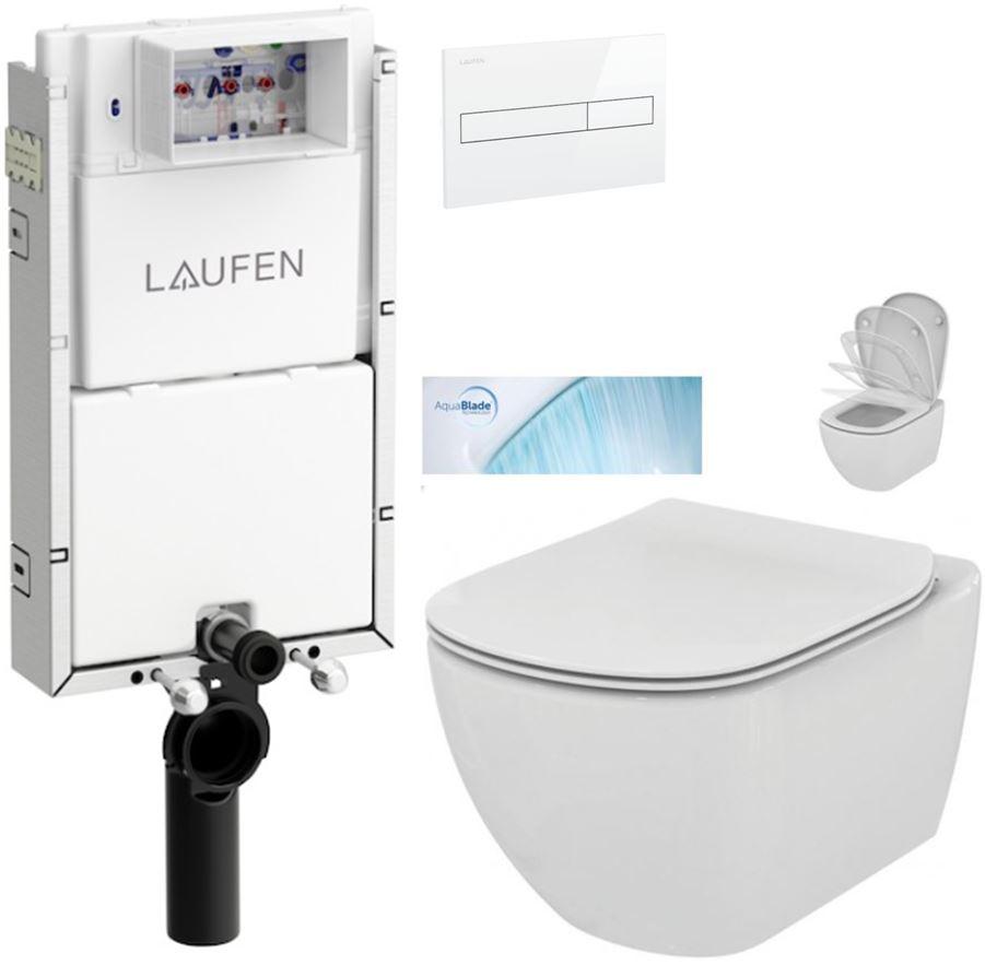 AKCE/SET/LAUFEN - Podomít. systé LIS TW1 SET BIELA + ovládacie tlačidlo BIELE + WC TESI so sedadlom SoftClose, AquaBlade (H8946630000001BI TE1)