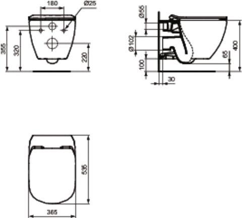 LAUFEN Podomít. systém LIS TW1 SET s bielym tlačidlom + WC Ideal Standard Tesi so sedadlom SoftClose, AquaBlade (H8946630000001BI TE1)
