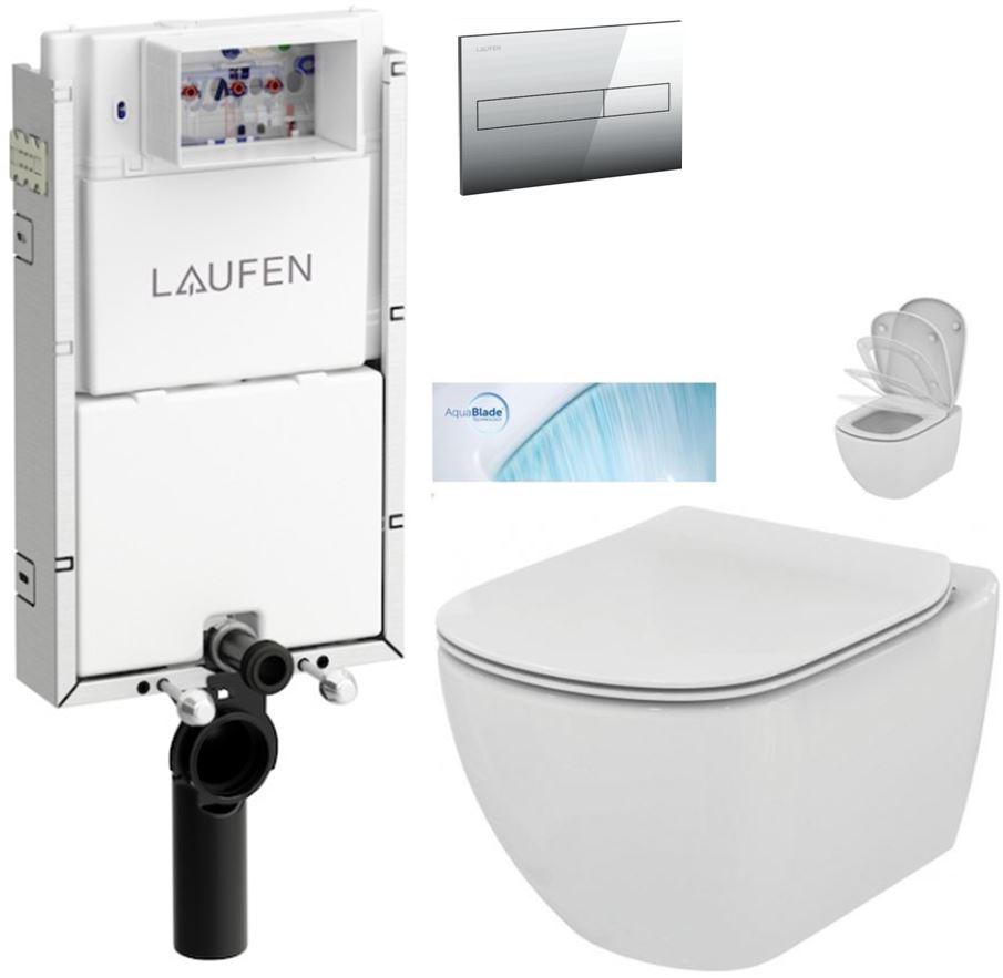AKCE/SET/LAUFEN - Podomít. systé LIS TW1 SET + ovládacie tlačidlo CHRÓM + WC TESI so sedadlom SoftClose, AquaBlade (H8946630000001CR TE1)